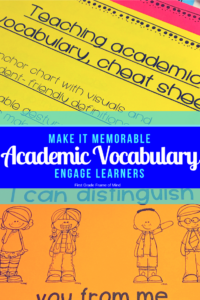 5 Ways to Engage Students Learning Academic Vocabulary by making it memorable 1) systematically introduce the word 2) Read aloud picture books 3) emergent text 4) interactive activities 5) school to home connection.