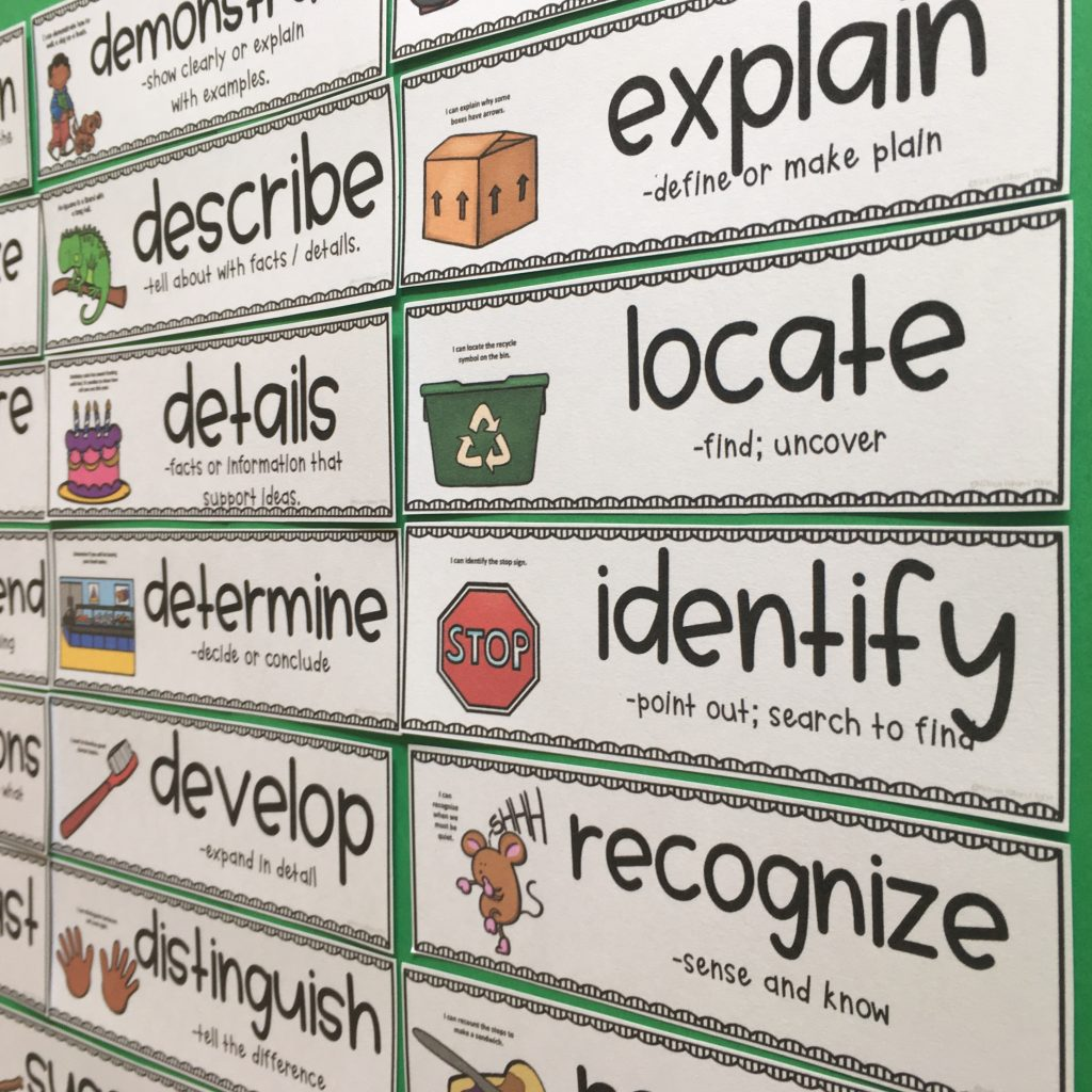 image of academic vocabulary word wall cards for critical common core standards words